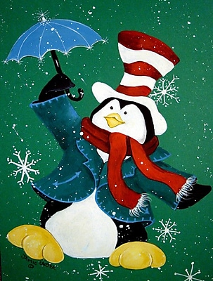 Caroline's Treasures Just Dropping In To Say Hello Christmas Penguin Vertical Flag