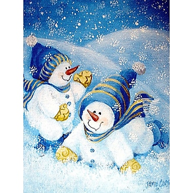Caroline's Treasures Snow Babies At Play Snowman Vertical Flag