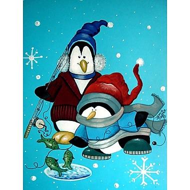 Caroline's Treasures Somethin's Fishy Christmas Penguin Vertical Flag