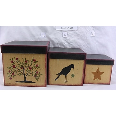 Craft Outlet 3 Piece Cherry Tree Square Box Set