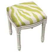 123 Creations Zebra Stripes Linen Upholstered Vanity Stool w/ Nailhead; Chartreuse Green