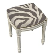 123 Creations Zebra Stripes Linen Upholstered Vanity Stool w/ Nailhead; Gray