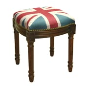 123 Creations Britannia Linen Upholstered Vanity Stool w/ Nailhead; Wood Stain