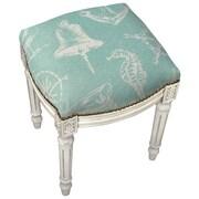 123 Creations Nautical Linen Upholstered Vanity Stool w/ Nailhead; Aqua