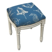 123 Creations Nautical Linen Upholstered Vanity Stool w/ Nailhead; Navy Blue