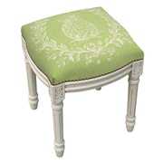 123 Creations Pineapple Linen Upholstered Vanity Stool w/ Nailhead; Chartreuse Green