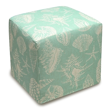 123 Creations Seashells Cube Ottoman; Aqua