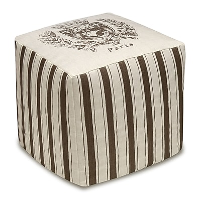 123 Creations Paris Crest Cube Ottoman