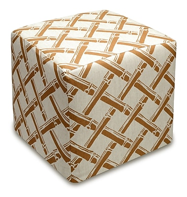 123 Creations Bamboo Trellis Cube Ottoman; Caramel