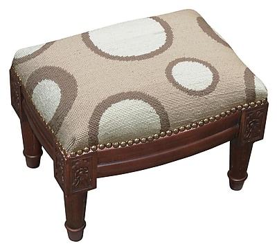 123 Creations Dots Wool Needlepoint Upholstered Ottoman;