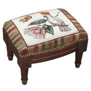 123 Creations Cockatoo Wool Needlepoint Upholstered Footstool