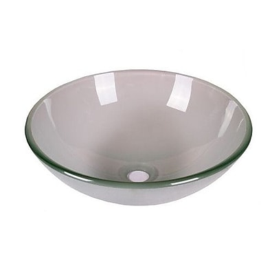 Jano Sanitary Tempered Glass Circular Vessel Bathroom Sink; Frosted