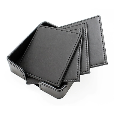 Ashlin® Thames Set Of 4 Square Coasters with Matching Open Box, Black