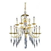 Everly Quinn Rana 12-Light Candle-Style Chandelier; Polished Silver