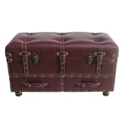 River of Goods Faux Leather Trunk; Burgandy