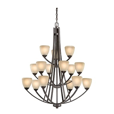 Vaxcel Helsinki 15-Light Shaded Chandelier; Black Walnut