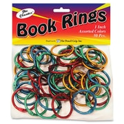 "The Pencil Grip Color Book Rings, 1"" H x 0.1"" W x 1"" D, Assorted Metallic, Steel, 50Pack"