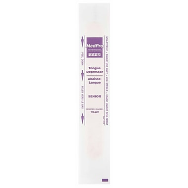 Safecross – Abaisse-langue, 6 po, emballage individuel, 900/paquet (SEE470)