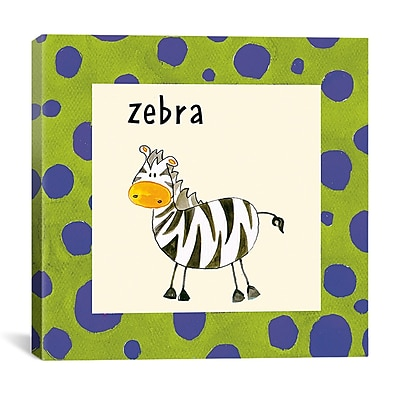 iCanvas Kids Children Zebra from Esteban Studio Painting Print on Canvas; 12'' H x 12'' W x 0.75'' D