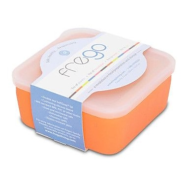 Frego Glass and Silicone Toxin-free 20 Oz. Food Storage Container; Orange