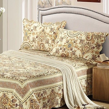 Tache Home Fashion Summer Royal Medallion Reversible Bedspread Set; Queen