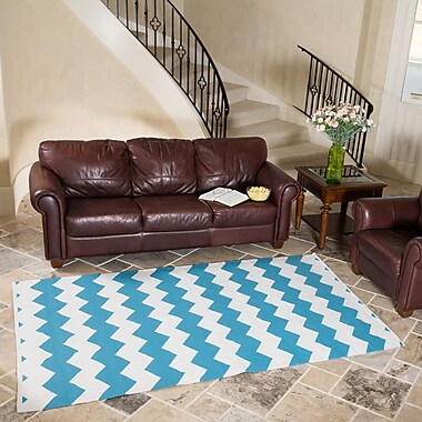 Harbormill Turquoise/White Indoor/Outdoor Area Rug; 5' x 8'