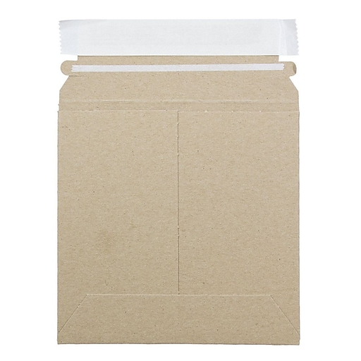 JAM Paper® Stay-Flat Photo Mailer Stiff Envelopes with Self-Adhesive Closure, 6 x 6, Brown Kraft, Sold Individually (8866639)