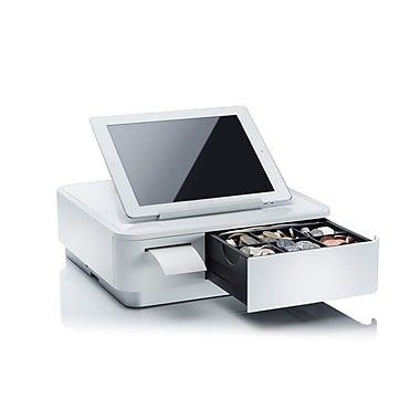 Star Micronics mPOP™ Integrated Printer & Cash Drawer, Universal Tablet Stand, Internal Power Supply, White