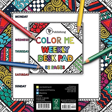 TF Publishing – Sous-main hebdomadaire, Colour Me, 7,75 x 7,75 po