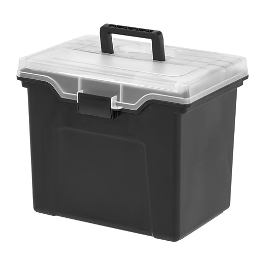 staples portable file box with organizer top black 110970 staples. Black Bedroom Furniture Sets. Home Design Ideas