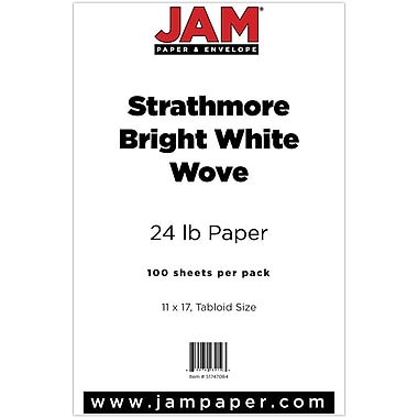 JAM Paper® Strathmore Tabloid Paper, 11 x 17, 24lb Bright White Wove, 100/pack (51747084)