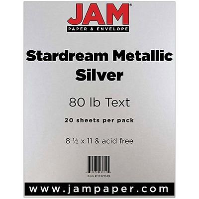 JAM Paper® Metallic Paper, 8.5 x 11, 80lb Stardream Silver, 20/pack (17321539)