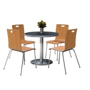 """KFI 36"""" Round Graphite Nebula HPL Table with 4 9222-Natural Chairs  (36RB922SGR9222N)"""