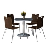 """KFI 42"""" Round Graphite Nebula HPL Table with 4 9222-Espresso Chairs  (42RB922SGR9222E)"""