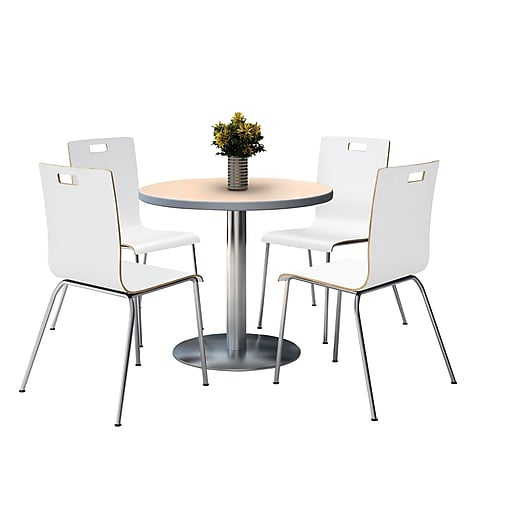 Kfi 42 Round Natural Hpl Table With 4 9222 White Chairs