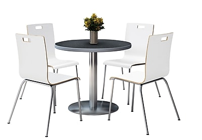 """KFI 36"""" Round Graphite Nebula HPL Table with 4 9222-White Chairs  (36RB922SGR9222W)"""