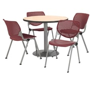 """KFI 42"""" Round Natural HPL Table with 4 Burgundy KOOL Chairs  (42R192SNA230P07)"""