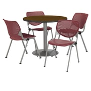 "KFI 42"" Round Walnut HPL Table with 4 Burgundy KOOL Chairs  (42R192SWL230P07)"
