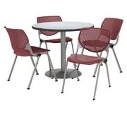 "KFI 42"" Round Grey Nebula HPL Table with 4 Burgundy KOOL Chairs  (42R192SGN230P07)"