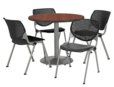 "KFI 42"" Round Mahogany HPL Table with 4 Black KOOL Chairs  (42R192SMH230P10)"