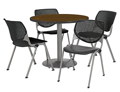 "KFI 42"" Round Walnut HPL Table with 4 Black KOOL Chairs  (42R192SWL230P10)"
