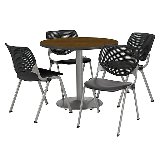 Kfi 36 Round Walnut Hpl Table With 4 Black Kool Chairs Ameriwood Desk Embly Staples Mamamommymom