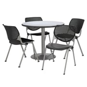 "KFI 36"" Round Grey Nebula HPL Table with 4 Black KOOL Chairs  (36R192SGN230P10)"