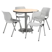 """KFI 36"""" Round Natural HPL Table with 4 Light Grey KOOL Chairs  (36R192SNA230P13)"""