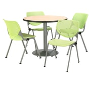 """KFI 42"""" Round Natural HPL Table with 4 Lime Green KOOL Chairs  (42R192SNA230P14)"""