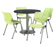 """KFI 42"""" Round Graphite Nebula HPL Table with 4 Lime Green KOOL Chairs  (42R192SGR230P14)"""