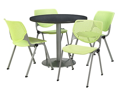 "KFI 42"" Round Graphite Nebula HPL Table with 4 Lime Green KOOL Chairs  (42R192SGR230P14)"