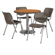 "KFI 42"" Round Medium Oak HPL Table with 4 Brownstone KOOL Chairs  (42R192SMO230P18)"