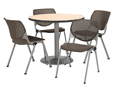 "KFI 42"" Round Natural HPL Table with 4 Brownstone KOOL Chairs  (42R192SNA230P18)"