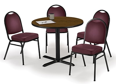 "KFI 36"" Round Walnut HPL Table with 4 Burgundy Vinyl Stack Chairs (36R025WLIM52BGV)"